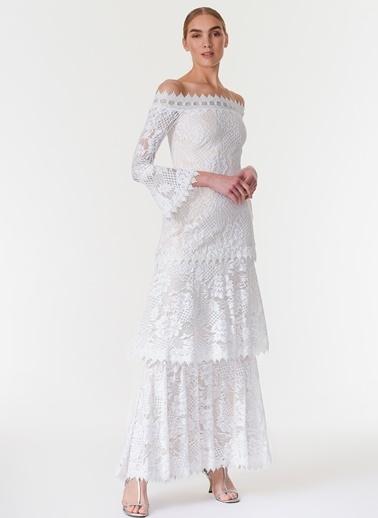 Davet Çok Elbisem Yok Kayık Yaka Dantelli Uzun Abiye Elbise Beyaz